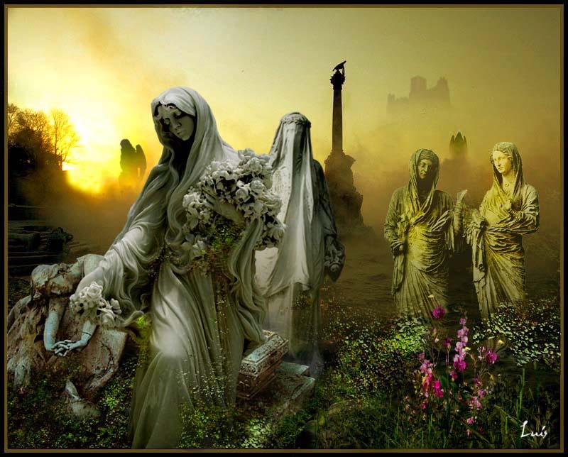 El jard n de las estatuas los cuatro elementos - Estatuas de jardin ...