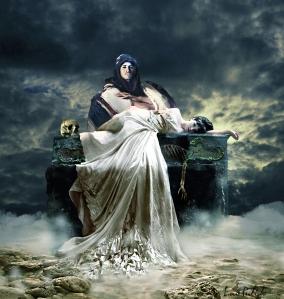 dama banco piedra arabe esqueleton-calavera