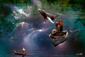 barca y ballena flotantes